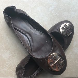 Tory Burch Brown and Gold Flats Size 7
